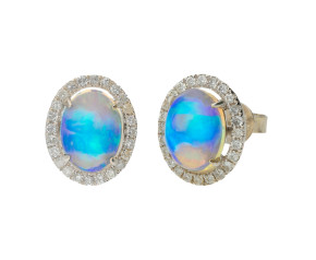 0.80ct Opal & Diamond Cluster Stud Earrings