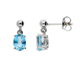 9ct White Gold 1.50ct Aquamarine Drop Earrings