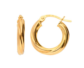 9ct Yellow Gold Chunky Twisted Small Hoops
