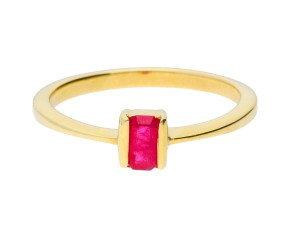 9ct Yellow Gold 0.55ct Rectangular Ruby Solitaire Ring