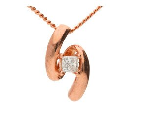 9ct Rose Gold 0.10ct Diamond Pendant
