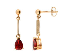 9ct Yellow Gold 1.60ct Pear Garnet Drop Earrings