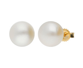 9ct Gold 8mm Freshwater Button Pearl Earrings