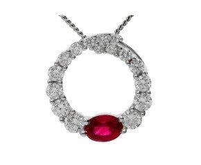 18ct White Gold 0.10ct Emerald & 0.30ct Diamond Circle Pendant