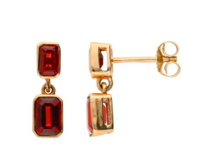 9ct Yellow Gold 2.78ct Garnet Double Drop Earrings