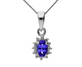 9ct Yellow Gold 0.20ct Tanzanite & Diamond Cluster Pendant