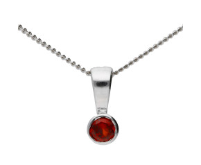 9ct White Gold 0.10ct Round Garnet Rub Over Pendant