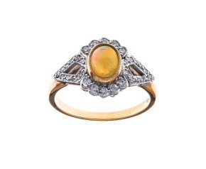 18ct Gold 0.52ct Australian Opal & Diamond Cocktail Ring