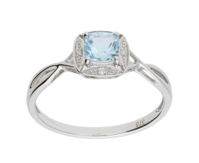 9ct White Gold Aquamarine & Diamond Dress Ring