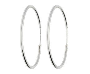 9ct White Gold 30mm Sleeper Hoop Earrings