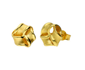 9ct Yellow Gold Satin Ribbon Knot Stud Earrings