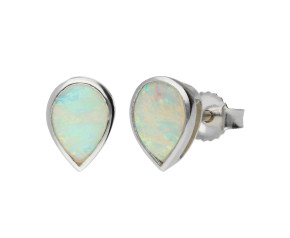 9ct White Gold 7mm Opal Solitaire Pear Shape Stud Earrings