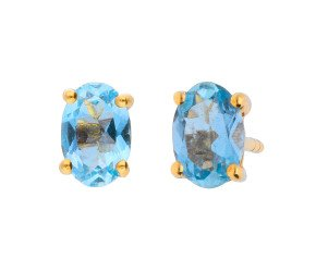 9ct Yellow Gold 0.80ct Oval Aquamarine Solitaire Stud Earrings