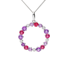 9ct White Gold, Garnet, Amethyst & Diamond Circle Pendant