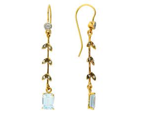 Antique Split Pearl & Aquamarine Drop Earrings