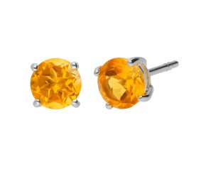 9ct White Gold 0.80ct Round Citrine Solitaire Stud Earrings