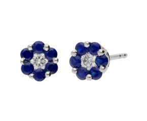 18ct White Gold Diamond & 0.35ct Sapphire Floral Cluster Stud Earrings