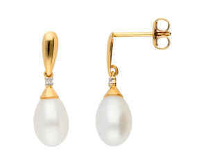 9ct Yellow Gold Freshwater Pearl & Diamond Drop Earrings