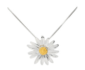 Silver & Yellow Gold Vermeil Daisy Flower Pendant
