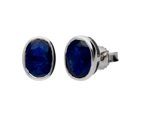9ct White Gold 1.80ct Oval Sapphire Solitaire Earrings