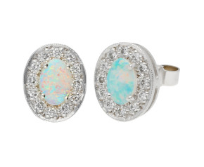 18ct White Gold 0.45ct Opal & 0.20ct Diamond Cluster Stud Earrings
