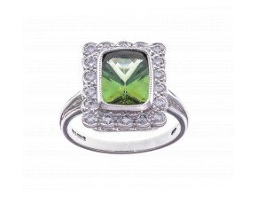 18ct White Gold 2.20ct Tourmaline & Diamond Dress Ring