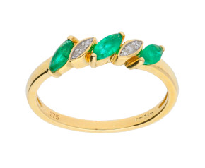 9ct Yellow Gold 0.25ct Emerald & 0.05ct Diamond Dress Ring