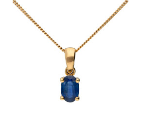 9ct Yellow Gold 0.40ct Sapphire Solitaire Pendant