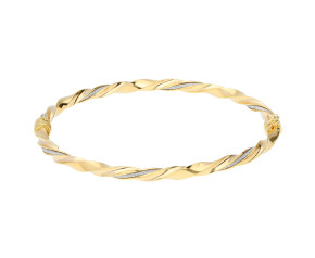 9ct Yellow Gold Fancy Hinged Twisted Bangle