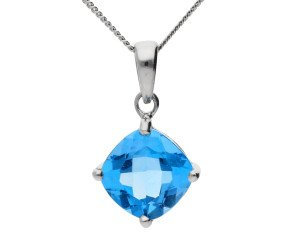 9ct White Gold 1.20ct Topaz Solitaire Pendant