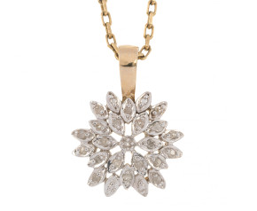 Pre-Owned 9ct Gold & Diamond Cluster Pendant