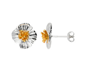 Silver & Yellow Gold Vermeil Poppy Flower Stud Earrings