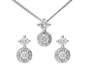 9ct White Gold 0.16ct Diamond Cluster Pendant