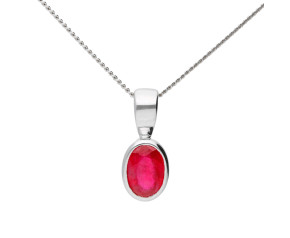 9ct White Gold 0.50ct Oval Ruby Solitaire Pendant