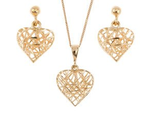 9ct Yellow Gold Heart Pendant & Earrings Set