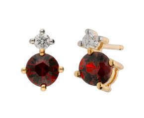 9ct Yellow Gold 0.50ct Garnet & 0.15ct Diamond Earrings