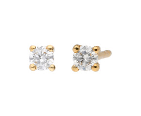 9ct Yellow Gold 0.20ct Diamond Solitaire Stud Earrings