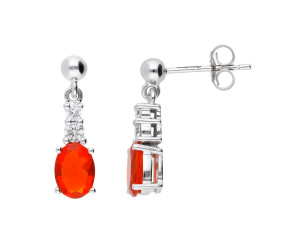 9ct White Gold 1.40ct Fire Opal & Diamond Earrings