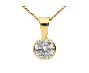 9ct Yellow Gold 0.75ct Round Cubic Zirconia Solitaire Pendant