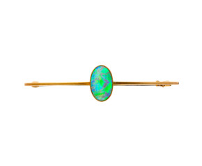 Vintage Yellow Gold 4.15ct Opal Bar Brooch