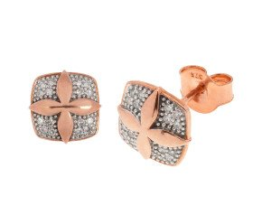9ct Rose Gold Diamond Cross Design Earrings
