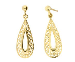9ct Yellow Gold Filgree Drop Earrings