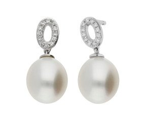 18ct White Gold 7.7mm Cultured Pearl & Diamond Drop Earrings