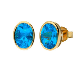 9ct Yellow Gold 1.80ct Topaz Solitaire Stud Earrings