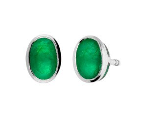 9ct White Gold 0.80ct Oval Emerald Solitaire Stud Earrings