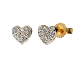 9ct Yellow Gold 0.10ct Diamond Heart Cluster Earrings