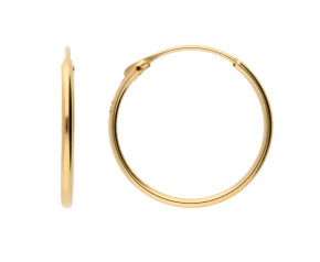 9ct Yellow Gold 14mm Sleeper Hoop Earrings