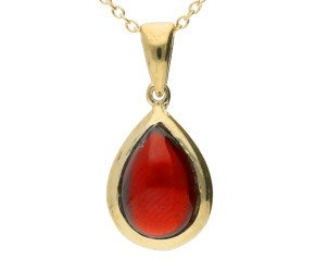 9ct Yellow Gold Cabochon Garnet Pendant