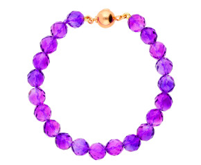 Sterling Silver & Rose Gold Plated Amethyst Bead Bracelet
