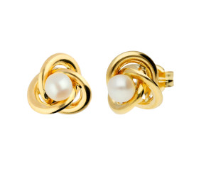 9ct Yellow Gold Cultured Pearl Knot Stud Earrings